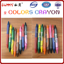 baby crayon of two different colors of double ended crayon