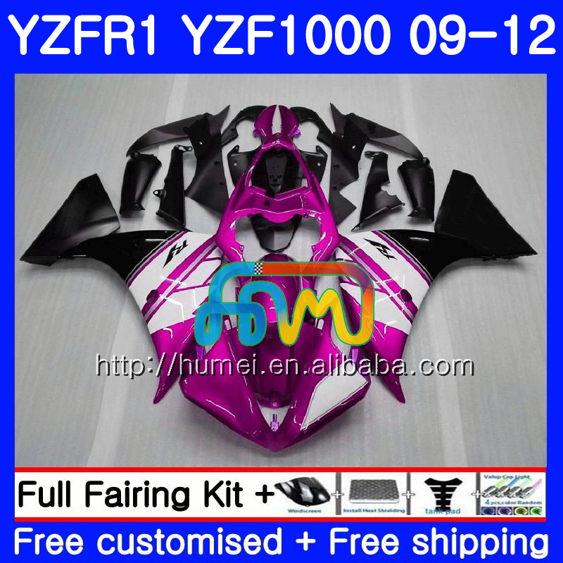 Body For YAMAHA YZF-R1 Rose black YZF-1000 YZF R1 09 10 11 <strong>12</strong> 104HM61 YZF1000 <strong>R</strong> 1 YZF 1000 YZFR1 2009 2010 2011 2012 Fairing