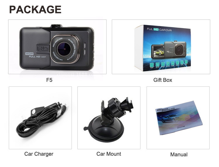 Dual lens recording full hd 1080p car video recorder camera with metal case