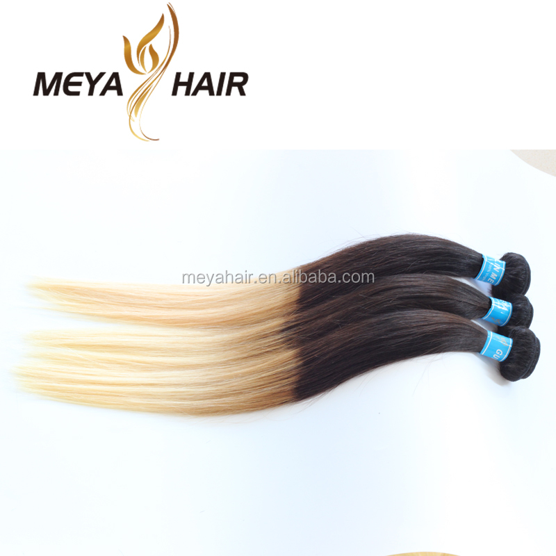Ombre Peruvian Virgin Hair Straight 3 Pcs Lot Human Hair Extensions Bundles With Lace Closure two tone 1B#613Blonde Hair