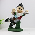 Manufacturer custom-made resin football gnomes figurines with decal LOGO