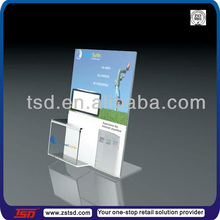 TSD-A058 acrylic sign holder with business card pocket/countertop sign holder/acrylic business card holder