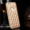 Fashion Metal Aluminum Bumper Genuine Leather Back Cover Case For Apple iPhone 6