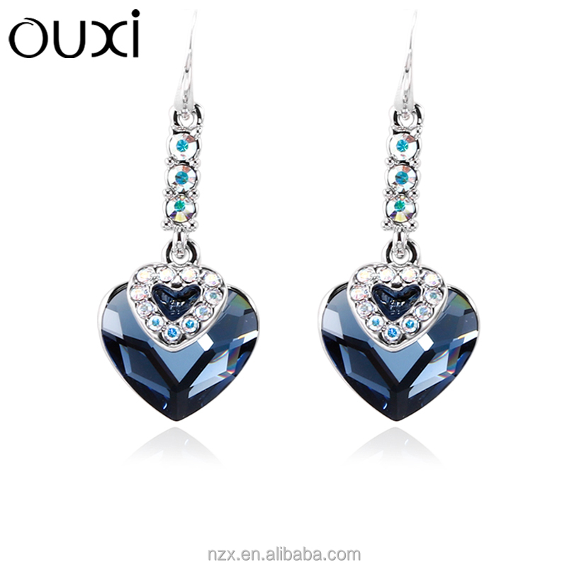 OUXI New design wholesale price heart charming crystal drop colored hoop earrings 21540