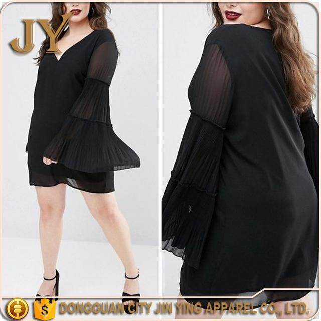 2017 Ladies Collection Fashion Clothing Black Shift Dress Plus Pleated Bell Sleeve Dress Fat Women Apparel