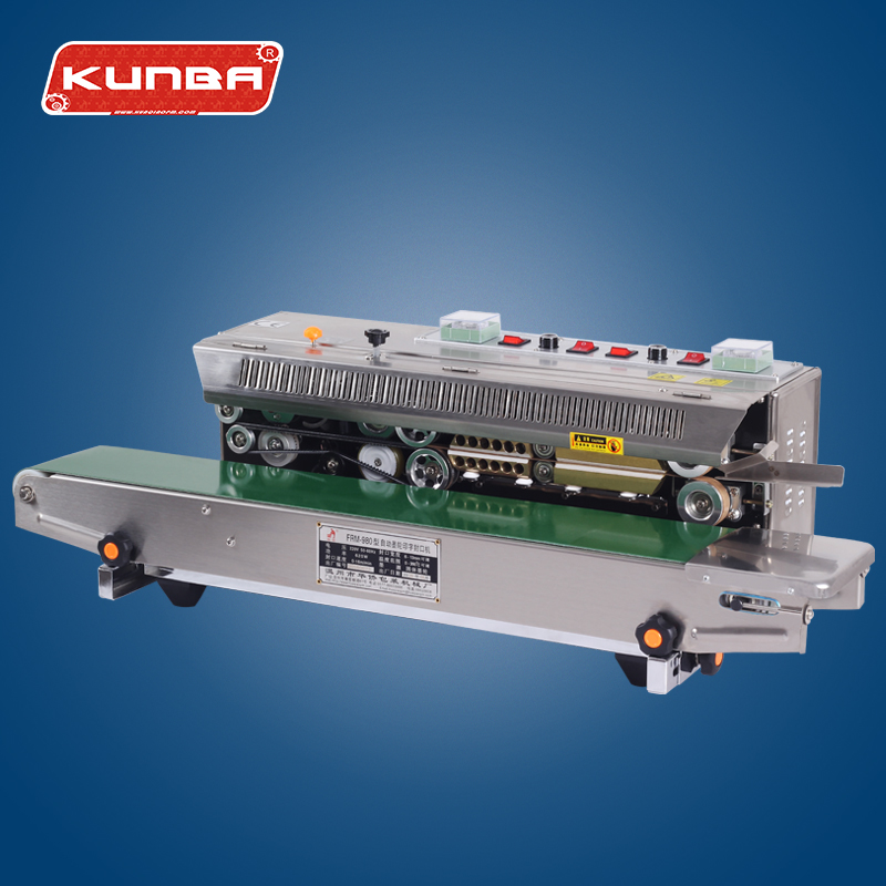 FRM-980W plastic film continuous band sealer with date printing & horizontal sealer machine
