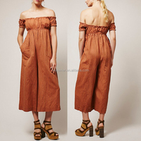 New women Romper semi-sheer jumpsuit jeans woman lightweight and striped fabrication orange Jumpsuit