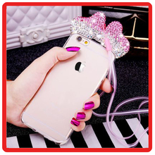 Hot Fashion bling Luxury 3D Diamond Mouse Ears TPU phone Cases Cover For iPhone 7 7Plus 5 5s 6 6S 6Plus with neck line