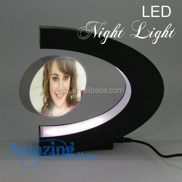 Home Decro Electro Magnetic Levitating Anti-Gravity Floating Digital Photo Picture Frame Display LED Lights