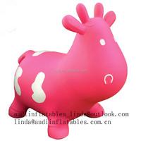 Pink Cow Inflatable Bouncer With Hand Pump Inflatable Space Hopper Inflatable Ride-on Bouncy Animal