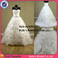2014 new arrival romantic shiny organza pleating and beading rosette skirt wedding dresses porm dresses imported from China
