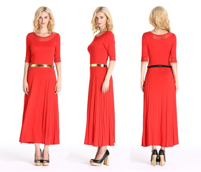 New Designs Long Sleeves Rayon Lady Dress Classic Maxi Dress