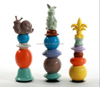 Special colorful bunny and snail pottery decoration
