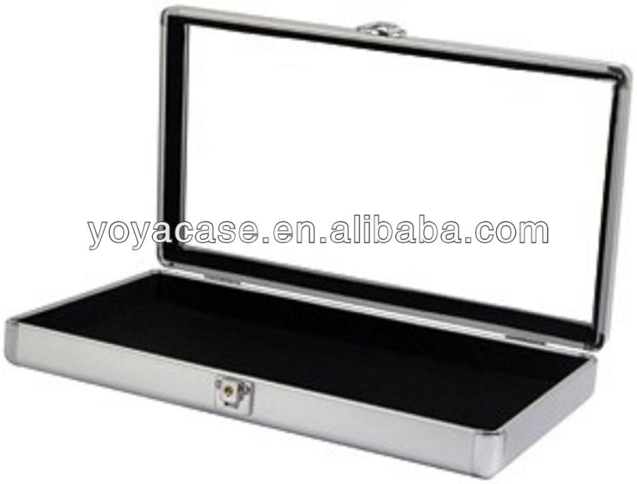 Aluminum Glass Top Display Locking Case fully lined with black velvet