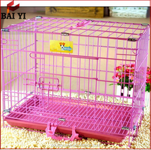 Heavy Duty Pink / Purple Folding Dog Crate With Plastic Tray For Sale On Alibaba