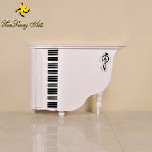 Neoclassical elegant wood furniture white two-door floral table wood carved console table