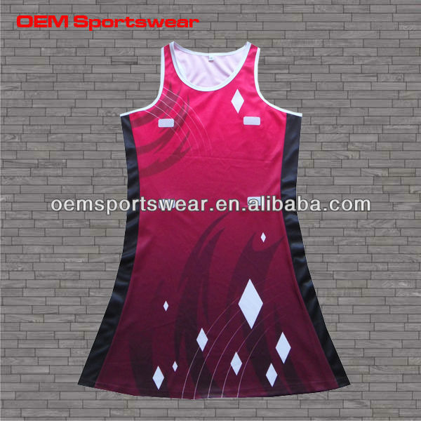 New design dye sublimated cheap netball dress