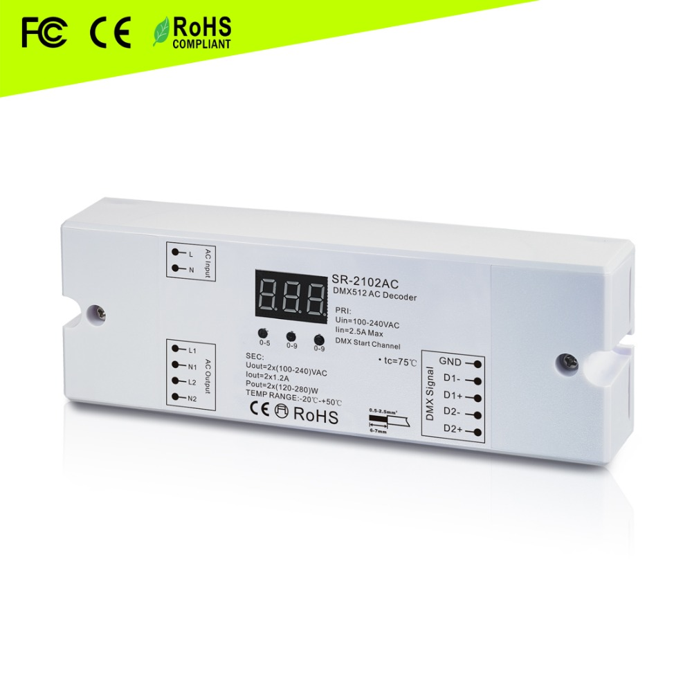 DMX triac dimmer( 2 channel) 100-240VAC input and 100-240VAC output