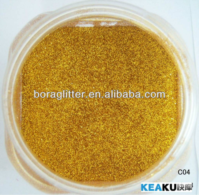 BL gold glitter powder for decorating shoes and cap