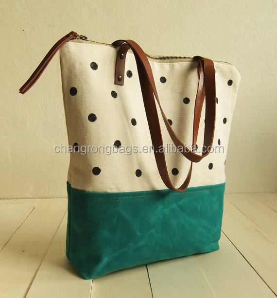 fashionable washed canvas tote bag leather handle waxed canvas bag