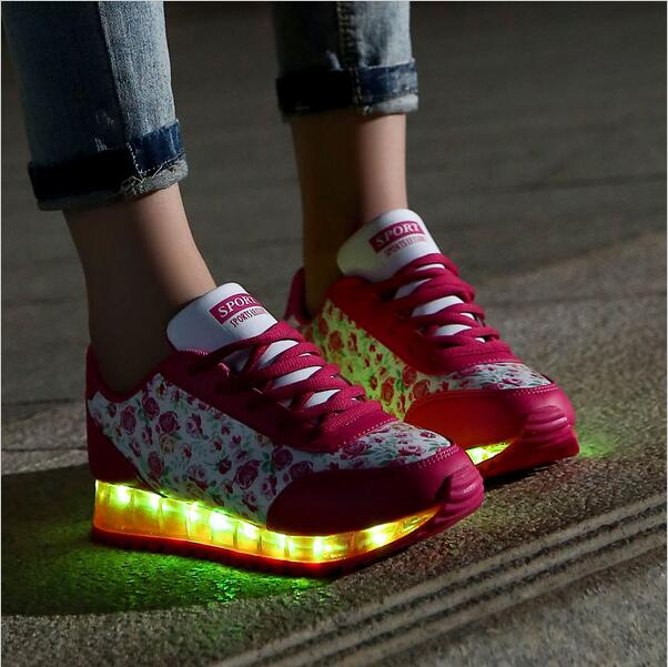 7 color led luminous shoes women floral glowing shoes chaussures adult flashing shoes with lights zapatillas mujer zapatos