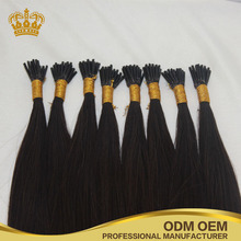 100% human hair 0.5-1g single strand I shaped pre tipped Shoe lace tip fusion hair extensions