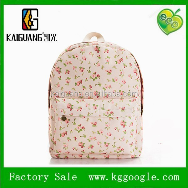 2015 new arrival top quality fashion laptop printed canvas school bag backpack for south korea