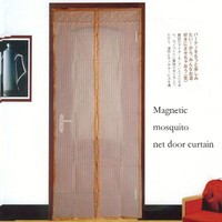 Wholesale magnetic mesh curtain /Magnetic Door Curtain Soft net curtain / window curtain magnetic mosquito net door curtain