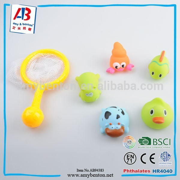 Hot sale plastic baby bath toys set rubber sea animals for child
