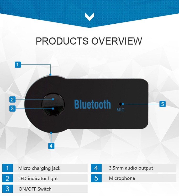 GXYKIT 3.5mm Jack Streaming Audio A2DP Aux Stereo Car Adapter Wireless Bluetooth Music Receiver with Mic