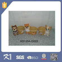 new product handmade resin pen holder with dog crafts for home decoration