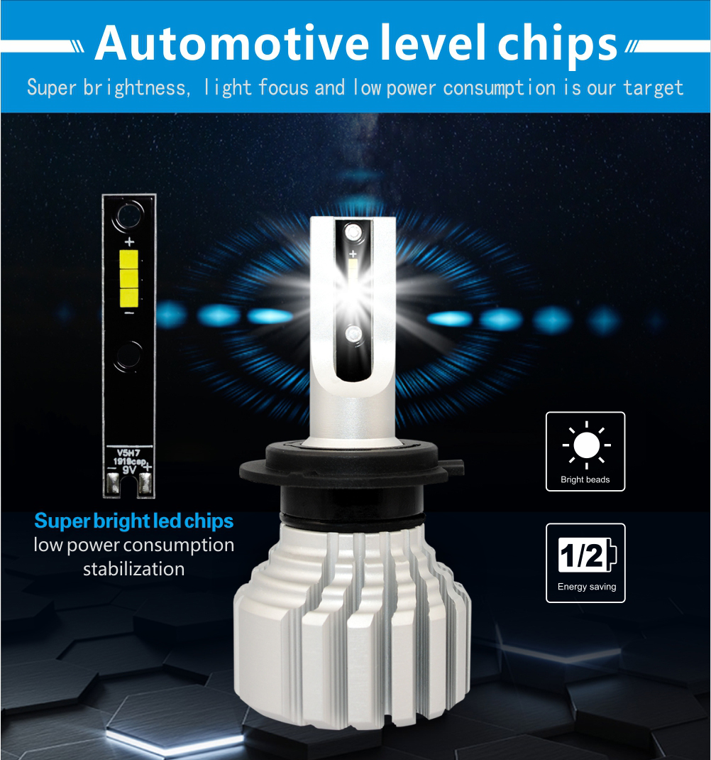 50w 7600 Lumens Fanless V5S Mini led Headlight Bulb Auto Headlights 880 881 h1 LED Headlight Bulb