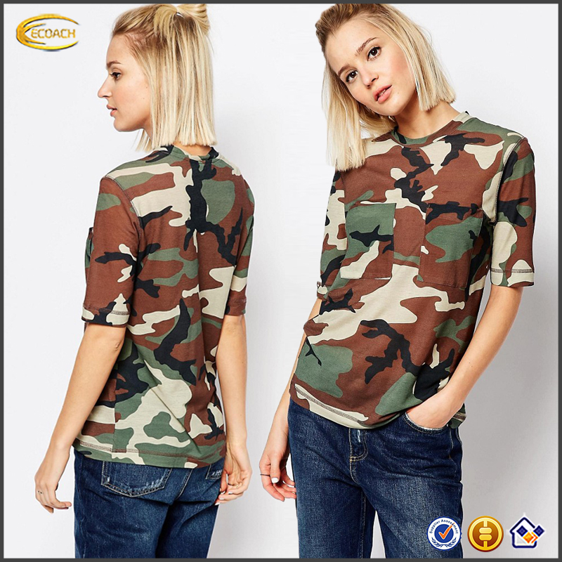 Ecoach 2016 Latest OEM Wholesale Short Sleeves Camouflage T-shirts with Pockets For Ladies
