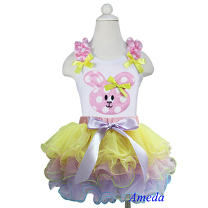 2014 Easter Yellow Pink Lavender Petal Pettiskirt Tutu Polka Dots Bunny White Tank Top 1-7Y