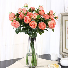 Hot selling 3 heads real touch rose silicone artificial flowers