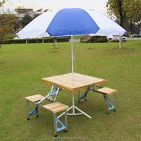 New design 4 seater outdoor folding wood table and chair sets