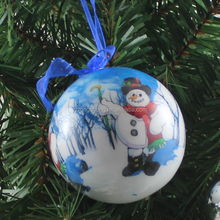 santa claus flat type styrofoam snowman family christmas ball with decal
