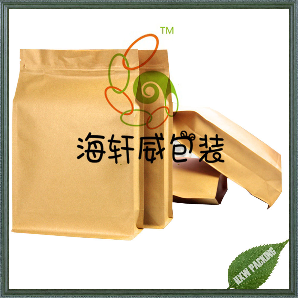 Manufacturer flat bottom brown kraft paper coffee bag with zip