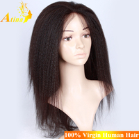 Tangle Free Human Hair Wholesale Malaysian Virgin Hair Full Hand-tied Kinky Straight bob cut Full Lace Wig With Baby Hair