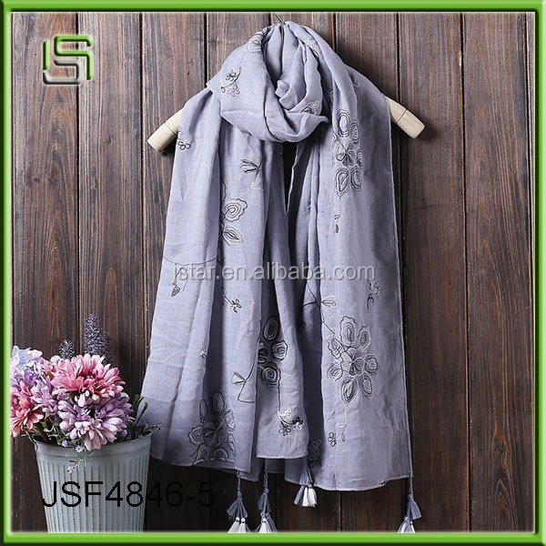 Autumn and winter embroidered cotton and linen fashion scarf ladies shawl manufacturers wholesale winter scarves