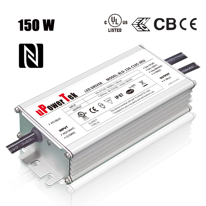Waterproof Constant Current 150W 1050mA 1400mA Programmable 0-10V PWM Timer Dimmable LED driver with 12v aux dim off function