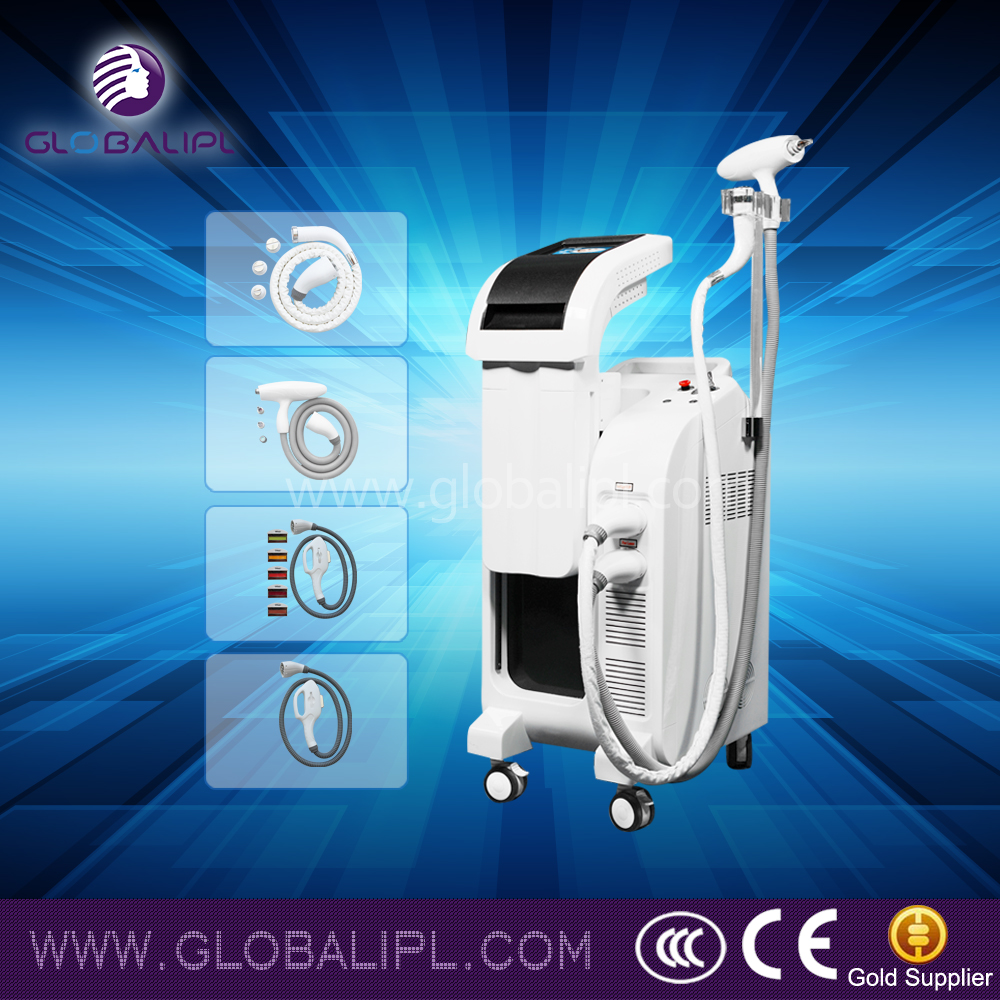 beauty salon machine e light three handle hair remove skin tighten no noise water pump