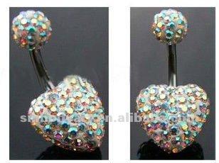 Y Heart Full Diamond Belly On Ring Navel Bar Body Piercing Jewelry Amdq12072636