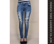 Women stretch ripped and damaged denim jeans with factory advantages