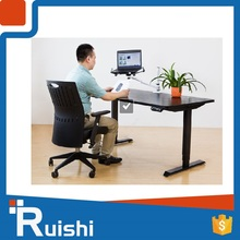 Movable floor sitting standing computer desk or table