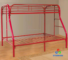 Sturdy twin over full red 3 person adult steel metal bunk beds wholesale