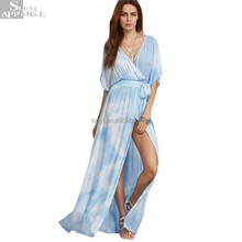 Ladies Summer Beach Wear Long Dresses Womens Blue V Neck Half Sleeve Tie-dye Wrap Front Maxi Dress With Belts