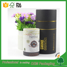 Cylinder customized round black cardboard tube packaging gift box with gold foil logo for cosmetic packaging