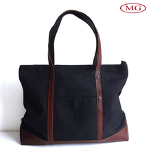 2015 purses and handbags canvas shopping tote bags with leather handle for ladies/women/female/girls