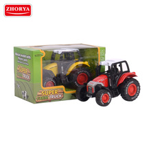 Zhorya hot sale super farm truck metal model with plastic parts pull back and go action die cast sets